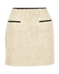 River Island - Natural Cream Shearling A-line Mini Skirt - Lyst