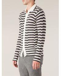 Side Slope - Gray Striped Cardigan for Men - Lyst