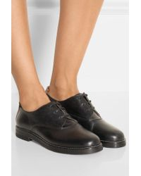MM6 by Maison Martin Margiela - Black Two-tone Leather Brogues - Lyst