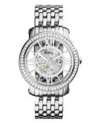 Fossil - Metallic 'curiosity' Crystal Bezel Skeleton Automatic Bracelet Watch - Lyst