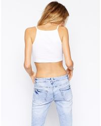 ASOS | White Cami Top With Square Neck | Lyst