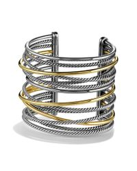 David Yurman | Metallic Crossover Extra Wide Cuff with Gold | Lyst