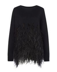 Elizabeth and James | Black Feather Detail Cotton Jumper | Lyst