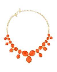 Kenneth Jay Lane - Orange Cluster Bib Necklace - Lyst