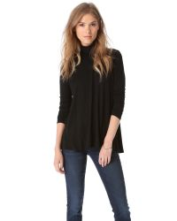 Three Dots | Black Long Sleeve Turtleneck | Lyst
