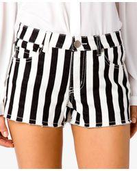 Forever 21 - Black Frayed Striped Denim Shorts - Lyst