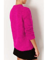 TOPSHOP - Pink Knitted Brushed Funnel Jumper - Lyst