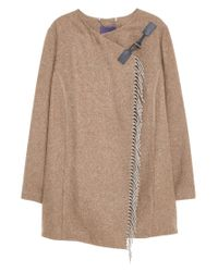 Violeta by Mango | Brown Fringe Wool-blend Coat | Lyst