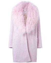 Elizabeth and James - Purple Fur Collar Coat - Lyst