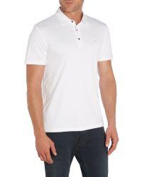 Michael Kors - White Sleek Mk Slim Fit Logo Polo Shirt for Men - Lyst