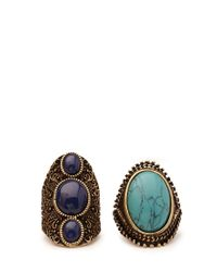 Forever 21 | Metallic Earthy Stone Ring Set | Lyst