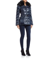 Laundry by Shelli Segal | Blue Faux Fur-trimmed Belted Coat | Lyst