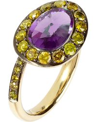 Annoushka - Multicolor Dusty Diamonds 18ct Yellow-gold Amethyst And Diamond Side Ring - Lyst