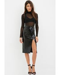 Forever 21 | Black Zippered Faux Leather Skirt | Lyst