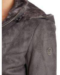 Armani Jeans | Gray Long Shearling Fur Trim Coat | Lyst