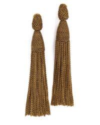 Oscar de la Renta - Brown Long Chain Tassel Earrings - Lyst