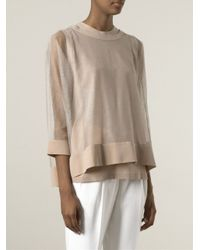Brunello Cucinelli - Natural Tulle Overlay Top - Lyst