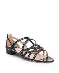 Miu Miu | White Studded Leather Strappy Sandals | Lyst