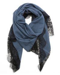 La Fiorentina - Cadet Blue Wool Lace Trim Triangle Scarf - Lyst