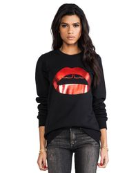 Markus Lupfer | Red Foil Rubber Lip Sweatshirt in Black | Lyst