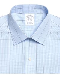 Brooks Brothers - Blue Non-iron Traditional Fit Houndstooth Overcheck Dress Shirt for Men - Lyst