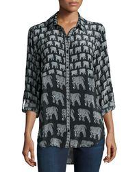Tolani | Gray Evelyn Elephant-print Silk Tunic | Lyst