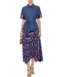 Tanya Taylor - Multicolor Navy Silk Wixson Skirt - Lyst