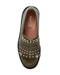 RED Valentino | Natural 20mm Studded Fringed Leather Loafers | Lyst