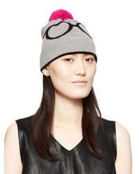kate spade new york - Gray Glasses Knit Hat - Lyst