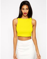 ASOS - Yellow Crop Top In Premium Fabric With Square Neck - Lyst