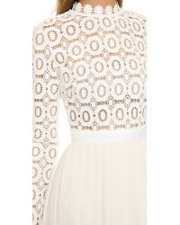 Self-Portrait - Natural Pleated Crochet Crepe Maxi Dress - Lyst