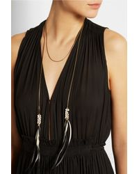 Isabel Marant - Metallic Gold-Tone, Feather And Resin Necklace - Lyst