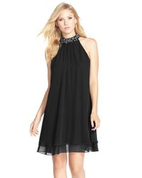 Eliza J - Black Beaded Neck Chiffon Shift Dress - Lyst