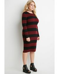 Forever 21 | Purple Plus Size Striped Rib Sweater Dress | Lyst