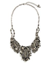Natasha Couture - Metallic Crystal Statement Necklace - Antique Silver/ Jet - Lyst