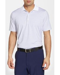 Fairway & Greene - White 'campbell' Stripe Moisture Wicking Stretch Jersey Golf Polo for Men - Lyst