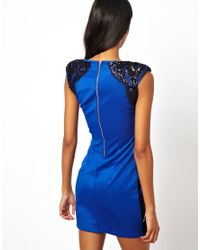 Little Mistress | Blue Bodycon Dress with Lace Panels | Lyst