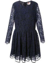 MSGM - Blue Floral Lace Dress - Lyst