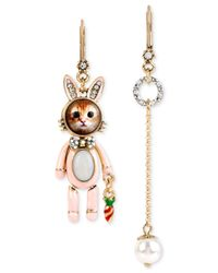 Betsey Johnson | Metallic Kitty Bunny Mismatch Earrings | Lyst