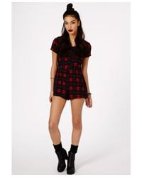 Missguided - Dipika Tartan Playsuit In Red - Lyst