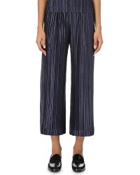 Pleats Please Issey Miyake | Blue Cropped Pleated Trousers | Lyst