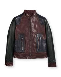 Gucci - Blue Color-Blocked Leather Motorcycle Jacket - Lyst