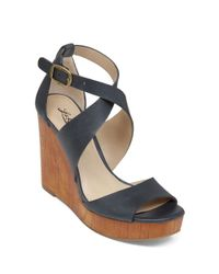 Lucky Brand | Blue Lyndell Leather Wedge Sandals | Lyst