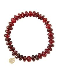 Sydney Evan - Red 8Mm Faceted Garnet Beaded Bracelet With 14K Yellow Gold/Diamond Small Disc Charm (Made To Order) - Lyst
