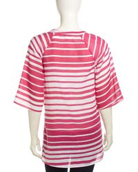 Splendid - Red Half-sleeve Striped Voile Tunic - Lyst