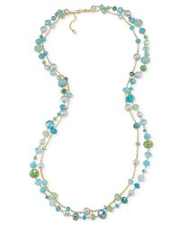 Carolee | Green Gold-tone Beaded Two-layer Long Necklace | Lyst