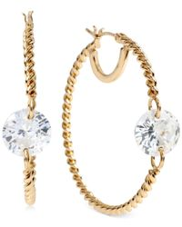 Betsey Johnson | Metallic Gold-tone Crystal Twist Hoop Earrings | Lyst