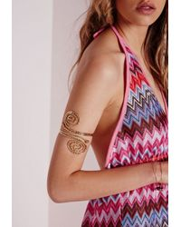 Missguided | Metallic Weave Arm Cuff Gold | Lyst