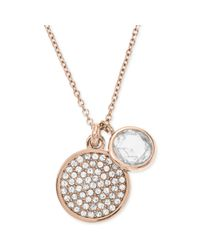 Michael Kors | Metallic Rose Goldtone Round Crystal Charm Pendant Necklace | Lyst