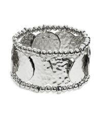 R.j. Graziano | Metallic Hammered Disc Stretch Bracelet | Lyst